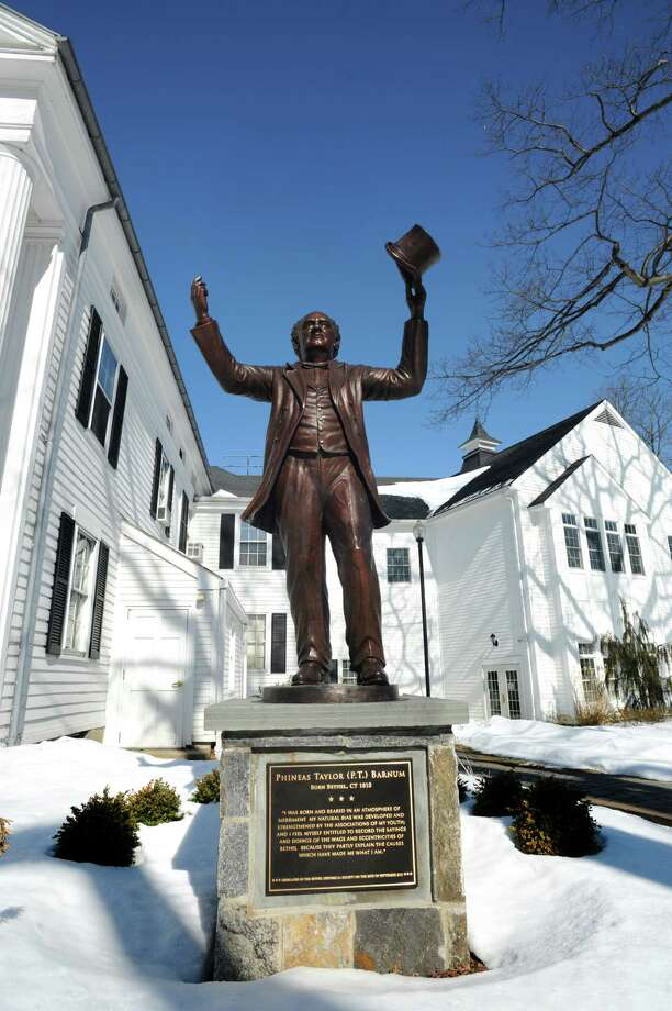 The statue of Phineas Taylor (P.T.) Barnum at the Bethel Public Library 189 Greenwood Ave  Bethel, Conn. 06801 Feb. 14, 2013 Photo: Cathy Zuraw / Cathy Zuraw / Connecticut Post