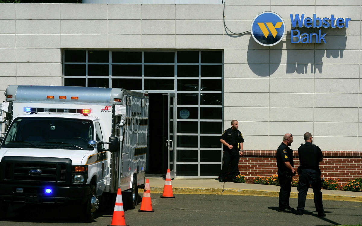 The scene of a robbery at the Webster Bank branch at 402 Connecticut Ave. in Norwalk, Conn., on Friday, Aug. 5, 2016.