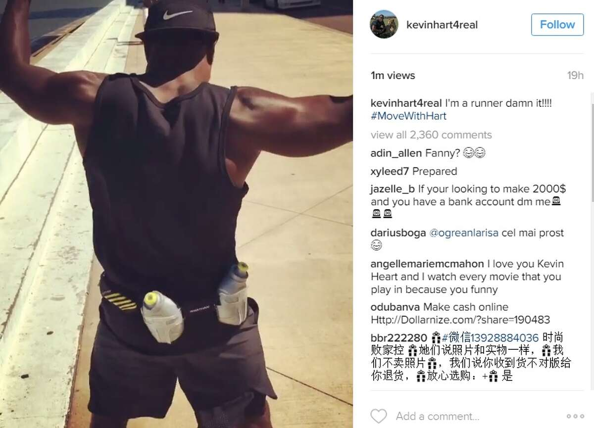 Comedian Kevin Hart documented his August 4, 2016 adventures in Corpus Christi on Instagram, including a run along the shoreline.