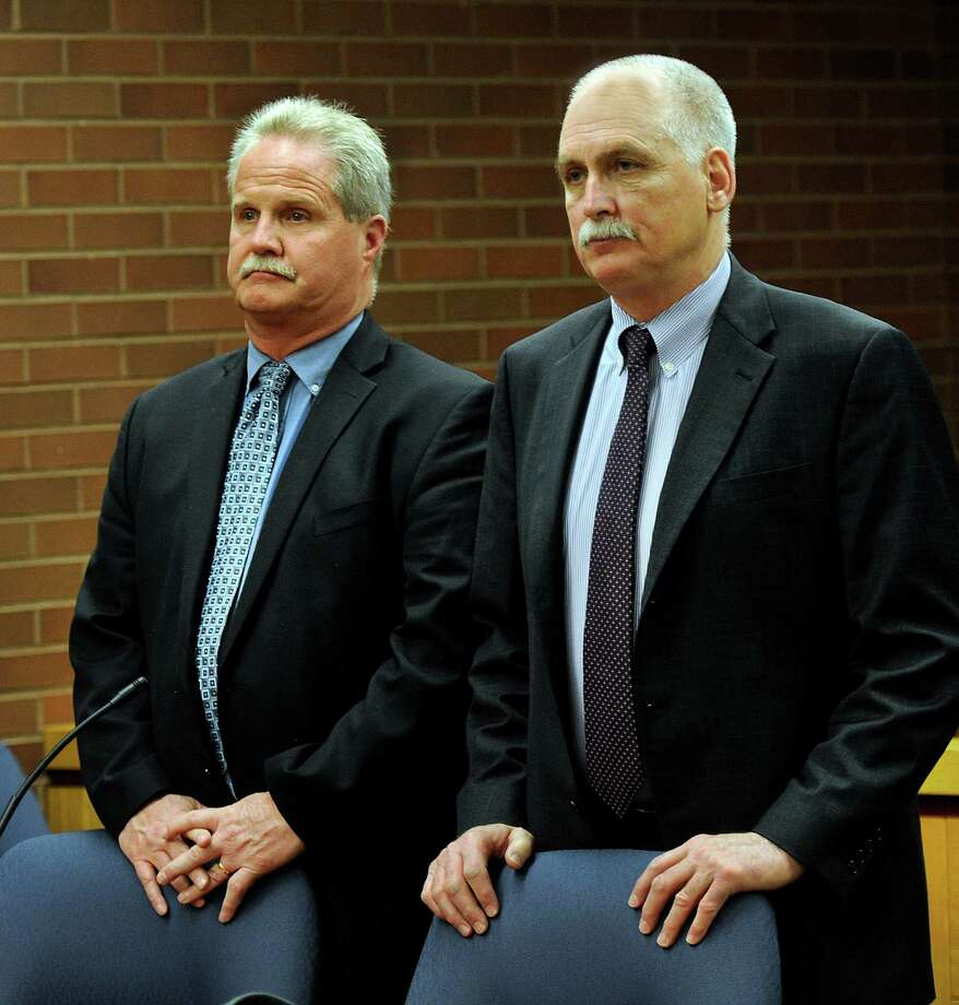 Art Colley, left, represented by Attorney Eugene Riccio, appeared at the Superior Court in Danbury Wednesday, March 9, 2016. Photo: Carol Kaliff Carol Kaliff / Hearst Connecticut Media / The News-Times