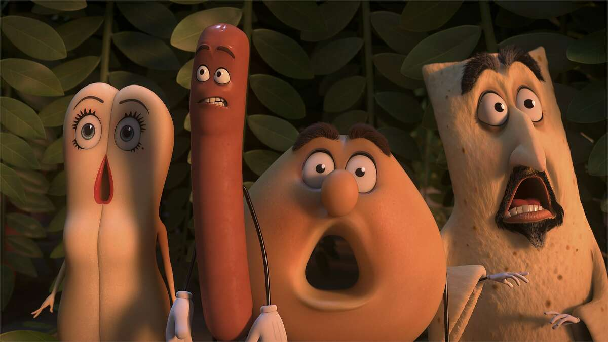 L-R: Brenda (Kristen Wiig), Frank (Seth Rogen), third character is not a major character, Sammy (Ed Norton) in Columbia Pictures� SAUSAGE PARTY.