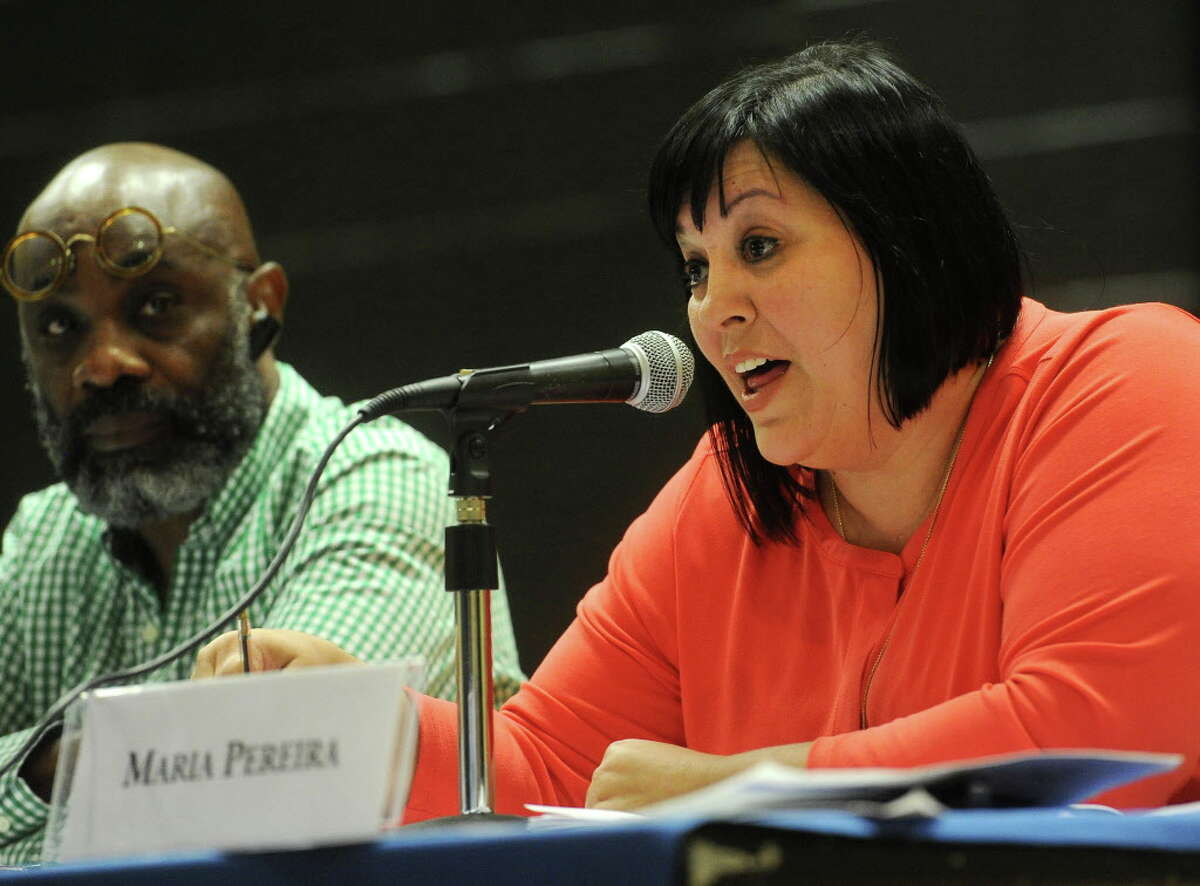 Bridgeport Board of Education member Maria Pereira speaks about a proposal to eliminate school resource officer positions during the board's meeting at Geraldine Johnson School in Bridgeport, Conn. on Monday, June 27, 2016. The board is facing a large budget deficit.