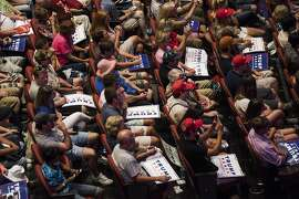 Attendees listen to Donald Trump, the Republican presidential nominee, during a campaign event at the Merrill Auditorium in Portland, Maine, Aug. 4, 2016. (Brendan Bullock/The New York Times)