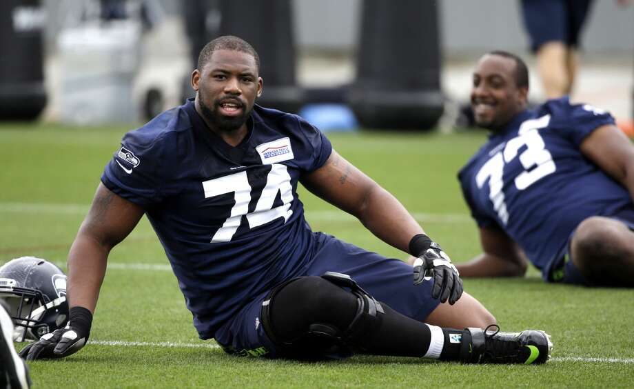 94a9ba3ef Seattle Seahawks' George Fant stretches at an NFL football practice  Thursday, May 26,