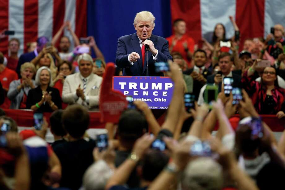 Republican presidential candidate Donald Trump puts conservative voters in a pickle — amid bad choices, whether to forsake their party's choice. Trump speaks during a town hall event Monday in Columbus, Ohio. Photo: Evan Vucci /Associated Press / Copyright 2016 The Associated Press. All rights reserved. This material may not be published, broadcast, rewritten or redistribu