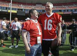 "FILE - In this July 12, 2014,  file photo, San Francisco 49ers Hall of Fame quarterback Joe Montana, right, laughs with former 49ers owner Eddie DeBartolo Jr. before the ""Legends of Candlestick"" flag football game in San Francisco. DeBartolo Jr. will be a Class of 2016 inductee into the Pro Football Hall of Fame in Canton, Ohio. (AP Photo/Eric Risberg, File)"