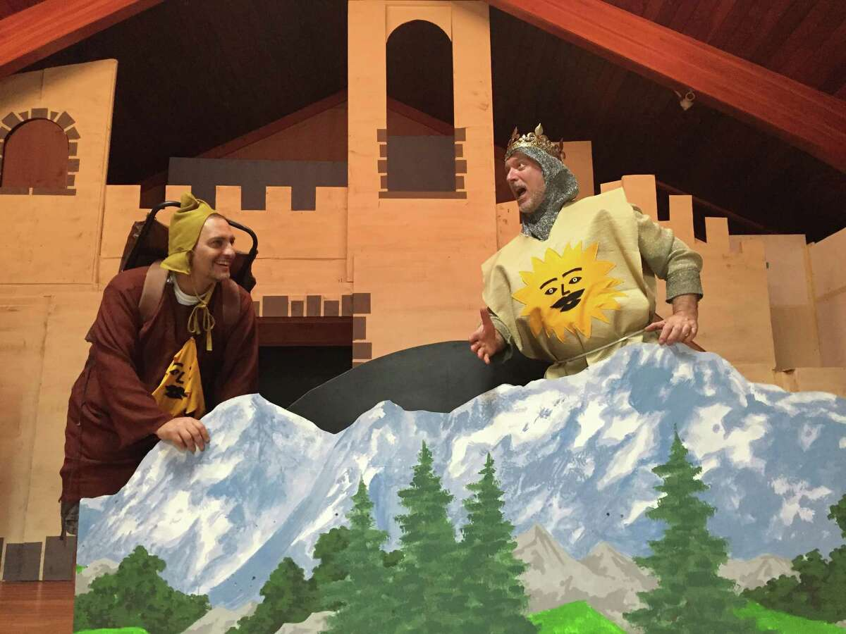 """The Brewster Theater Company's production of """"Spamalot"""" will take place at Drew Methodist Church in Carmel, N.Y., Aug. 12 and 13. Rehearsing are Bob Dumont, left, as Patsy, and Rob Ansbro, as King Arthur."""