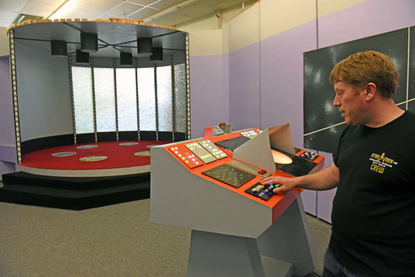 Brian Hudon gives a tour of the transporter room at the Star Trek set on Thursday Aug. 4, 2016 in Ticonderoga, N.Y. (Michael P. Farrell/Times Union)