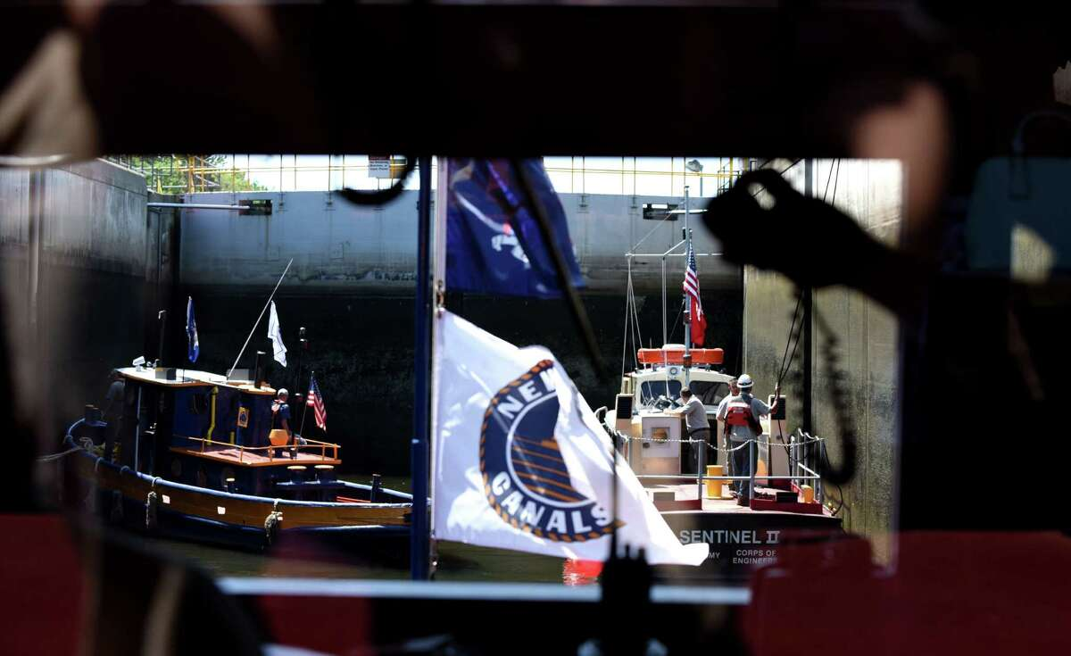 View through the M. V. Grand Erie's wheelhouse of the Federal Lock on Friday, Aug. 5, 2016, in Troy, N.Y. The dam and lock are celebrating 100 years of continuous service. It is operated by the U.S. Army Corps of Engineers. (Will Waldron/Times Union)
