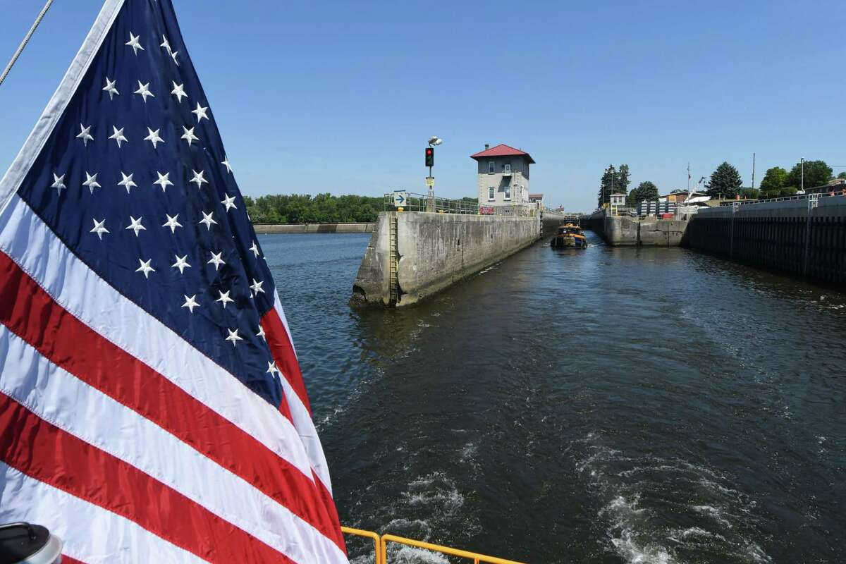 The Federal Lock is viewed the stern of the M. V. Grand Erie as it exits the lock on Friday, Aug. 5, 2016, in Troy, N.Y. The dam and lock are celebrating 100 years of continuous service. It is operated by the U.S. Army Corps of Engineers. (Will Waldron/Times Union)