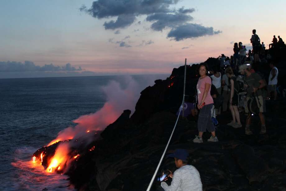 Hawaii Volcanoes National Park rangers have placed rope barricades near where lava enters the ocean to keep people away from the unstable cliff edges and flying volcanic debris and fumes. Photo: NPS Photo / Sami Steinkamp