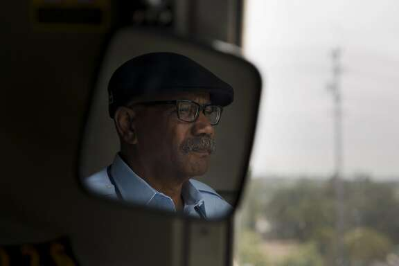 Curt Robinson has been a train operator for Bay Area Rapid Transit System for 17 years. He operates a train out of the Richmond train yard on Thursday, August 4, 2016 in Richmond, Calif.