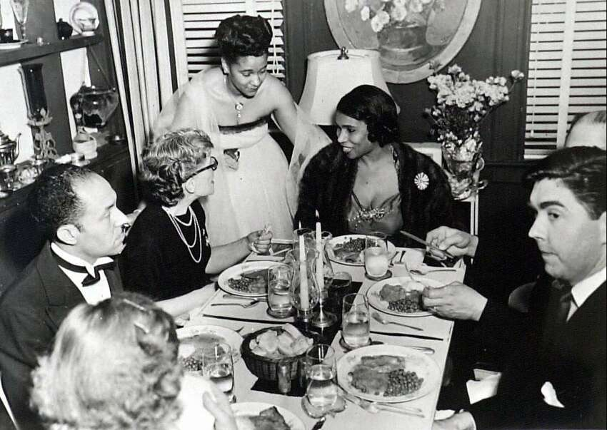 Marian Anderson having dinner at Alver Napper's house, c. 1945-46........Photo/Historical Society of Greenwich