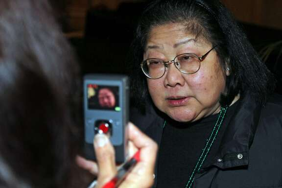 Rose Pak greets guests at an election party held at the Sheraton Place Hotel in San Francisco Tuesday November 8, 2011