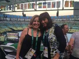 Ann Killion and Michelle Kaufman at Rio's Maracana Stadium prior to the Opening Ceremonies on Friday.