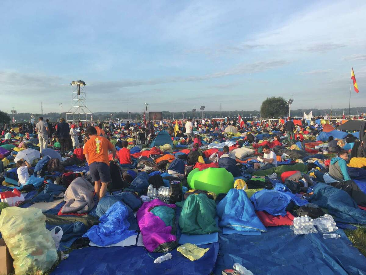 Local youths from the Albany Catholic diocese slept in sleeping bags under the stars among an estimated 2 million youths who gathered in a field for a Mass celebrated by Pope Francis in Krakow, Poland for World Youth Day (Photo courtesy of Matt Flanagan)