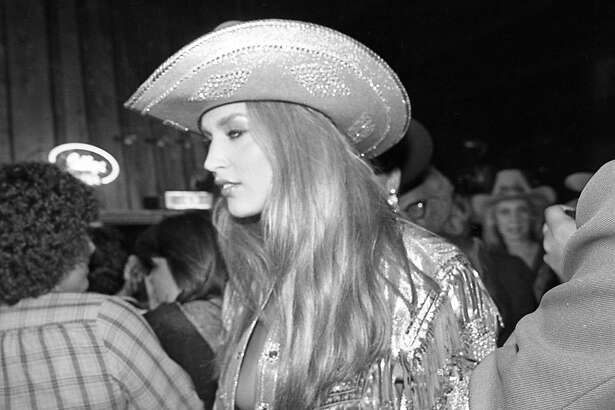 "06/05/1980 - Actres/model Jerry Hall at Houston movie premiere party for ""Urban Cowboy"" at Gilley's club."