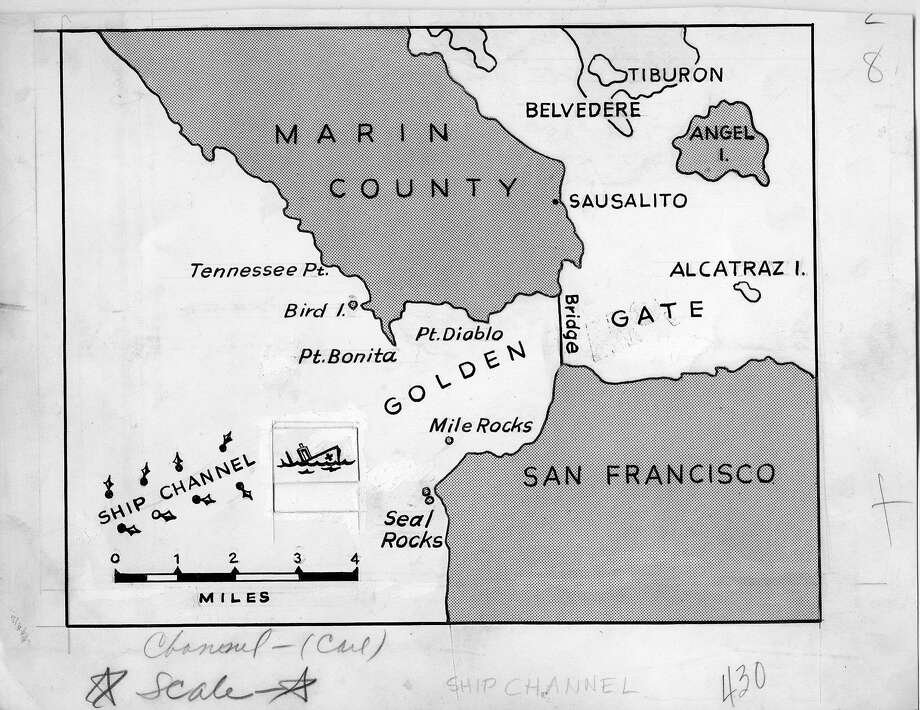 Map of the collision of the USS Mary Luckenbach with the hospital ship USS Benevolence in the fog off the Golden Gate. It ran Aug. 27, 1950. Photo: The Chronicle