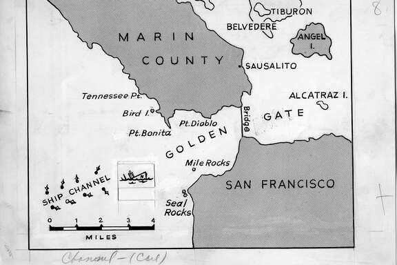 Map of the location of the collision of the SS Mary Luckenbach with the hospital ship USS Benevolence in the fog off the Golden Gate, Aug 25 1950.  Chronicle staff-produced map.  Ran Aug 27 1950, p.2