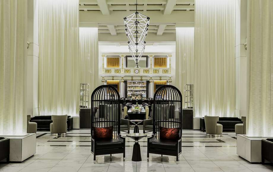 The birdcage chairs are among the most popular elements of the transformed Boston Park Plaza lobby, a formerly cavernous space that now has multiple seating areas and new dining options. Photo: Michael Diskin