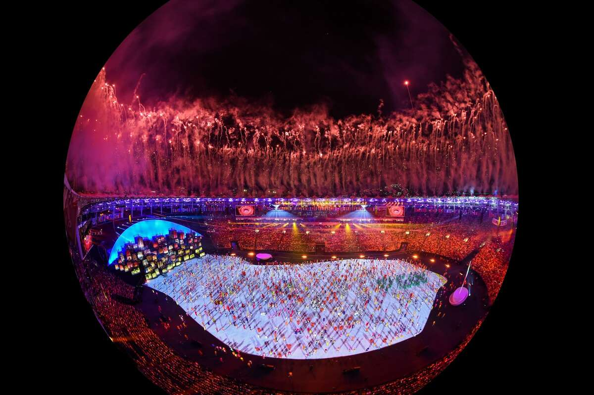 This picture shows an overview during the opening ceremony of the Rio 2016 Olympic Games at the Maracana stadium in Rio de Janeiro on August 5, 2016.