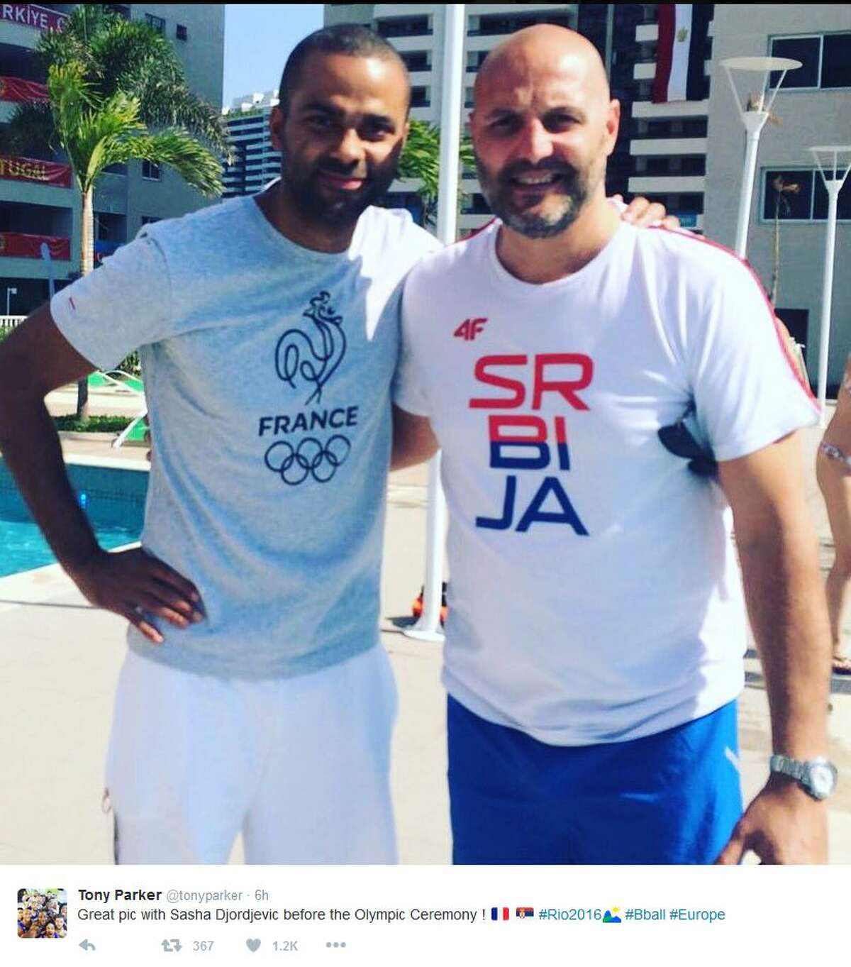 Spurs Tony Parker took this selfie with Sasha Djordevic before the opening of the Olympics Friday.