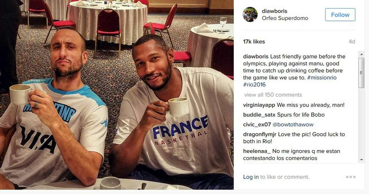 """Former Spur Boris Diaw hasn't been seen at the Olympics yet but he shared this last """"friendly"""" photo with Spurs Manu Ginobili before they face off in Rio."""