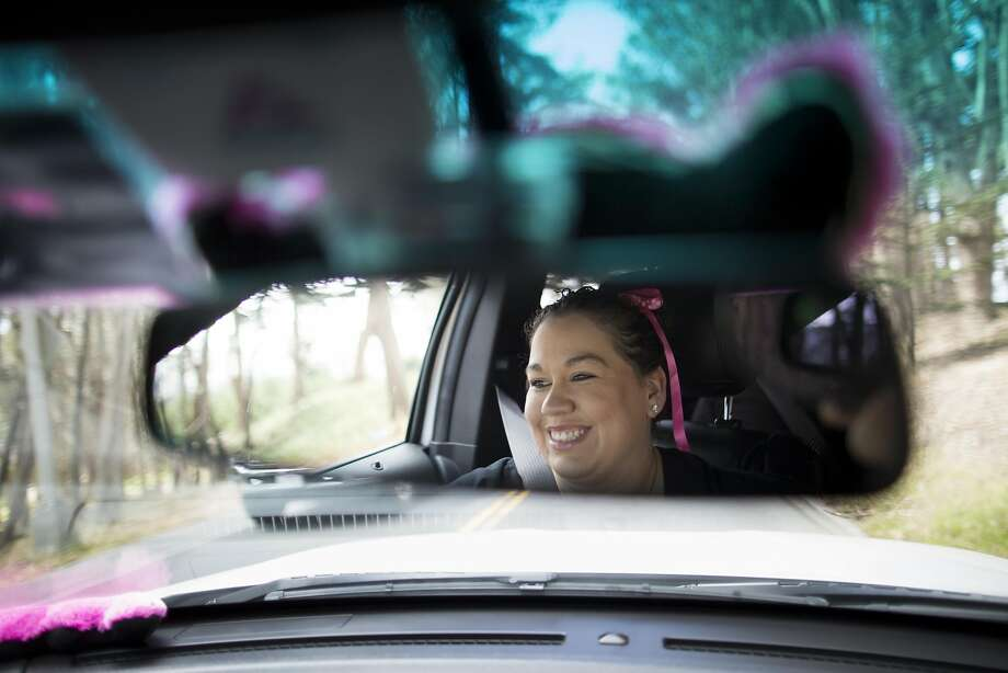 Rachel Powell, a Lyft driver, taxis passengers in the Presidio. Passengers will now be able to specify multiple stops. Photo: Tim Hussin, Special To The Chronicle