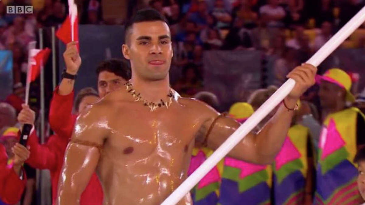 A flag bearer for Tonga nearly broke the Internet during the Opening Ceremony at the Olympics on Friday (Twitter/BBC Sport).