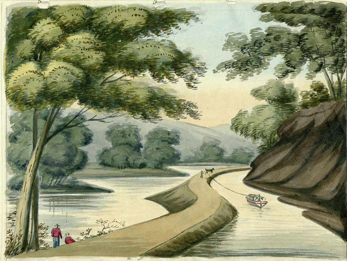 In this 1825 watercolor painting provided by the University of Michigan's William L. Clements Library, a section of the Erie Canal by Episcopalian minister John Henry Hopkins is shown. Arthur Cohn, director of the Lake Champlain Maritime Museum, and co-founder of a Vermont history museum, is traveling New York's Erie Canal and exhibiting prints of rarely-seen, nearly 200-year-old artwork of the waterway. (John Henry Hopkins via William L. Clements Library via AP) ORG XMIT: NYR402
