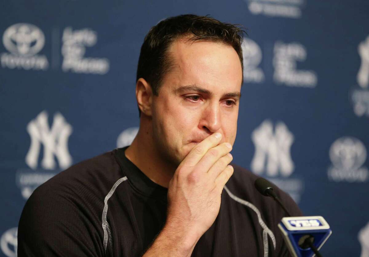 New York Yankees baseball player Mark Teixeira becomes emotional while talking to reporters at a press conference before a game against the Cleveland Indians at Yankee Stadium in New York, Friday, Aug. 5, 2016. Teixeira announced his plans to retire at the end of the season. (AP Photo/Seth Wenig) ORG XMIT: NYSW103