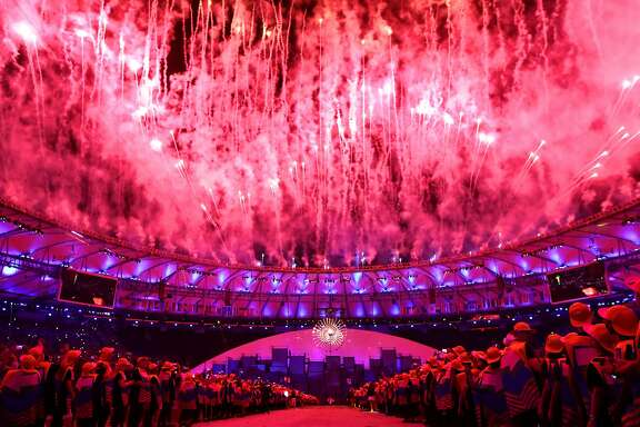 RIO DE JANEIRO, BRAZIL - AUGUST 05:  Fireworks explode during the Opening Ceremony of the Rio 2016 Olympic Games at Maracana Stadium on August 5, 2016 in Rio de Janeiro, Brazil.  (Photo by Cameron Spencer/Getty Images)