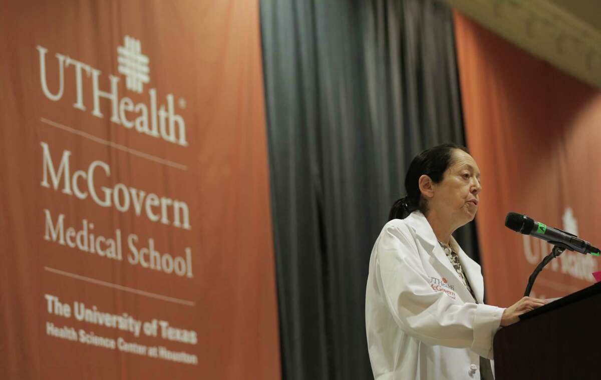 Dr. Barbara J. Stoll, dean of McGovern Medical School greets the Class of 2020 during the white coat ceremony to kick off their medical career on Thursday, July 28, 2016, in Houston.