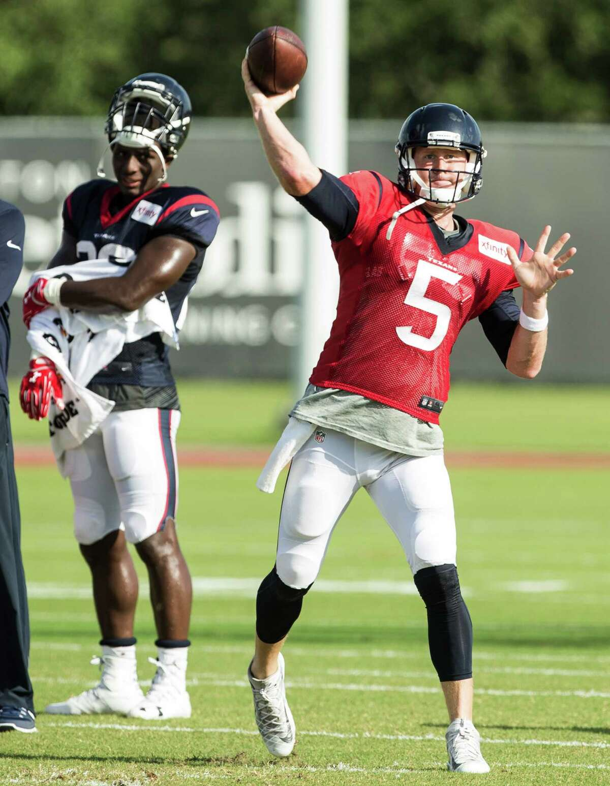 Houston Texans quarterback Brandon Weeden (5) throws a pass during Texans training camp at Houston Methodist Training Center on Saturday, Aug. 6, 2016, in Houston.