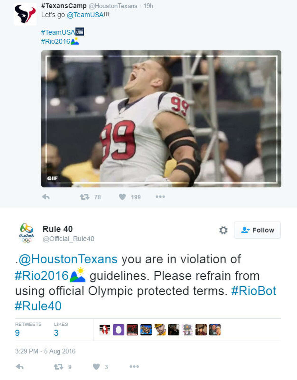 A bot Twitter account created to protest the IOC's Rule 40 targeted basically everyone tweeting about the Olympics, including big names like Donald Trump, the president, the pope and more.