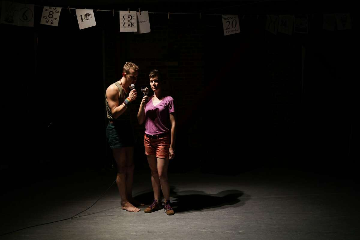 """Ryan Patrick Welsh (left) and Margaret McCarthy in the short play, """"My Dore Alley weekend as represented by the San Francisco Neo-Futurists and some food."""""""