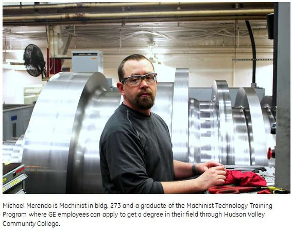 Michael Merendo is a machinist in building No. 273 and a graduate of the machinist technology training program, in which General Electric employees can apply to get a degree in their field through Hudson Valley Community College. (By William Delap)