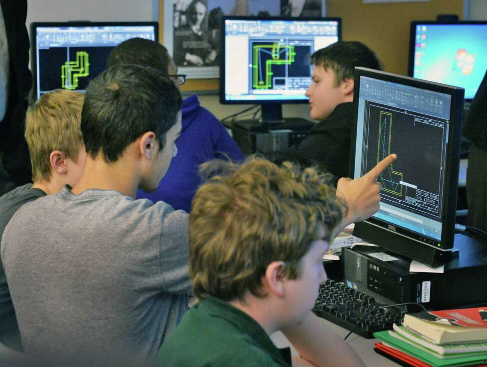 10th grader Troy High P-TECH students in class Tuesday Jan. 12, 2016 in Troy, NY. (John Carl D'Annibale / Times Union)