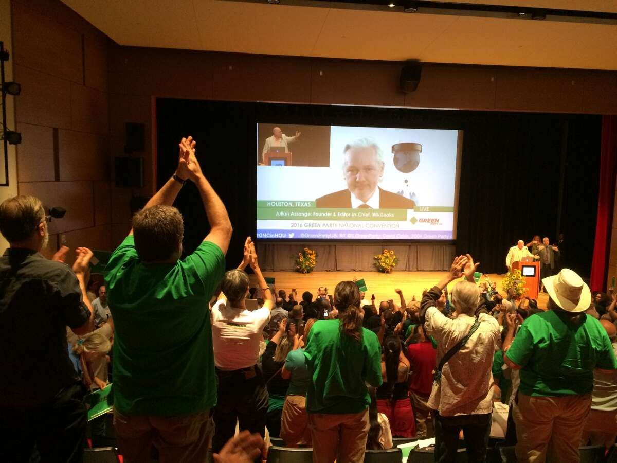 Julian Assange speaks to the Green Party on Saturday, August 06.