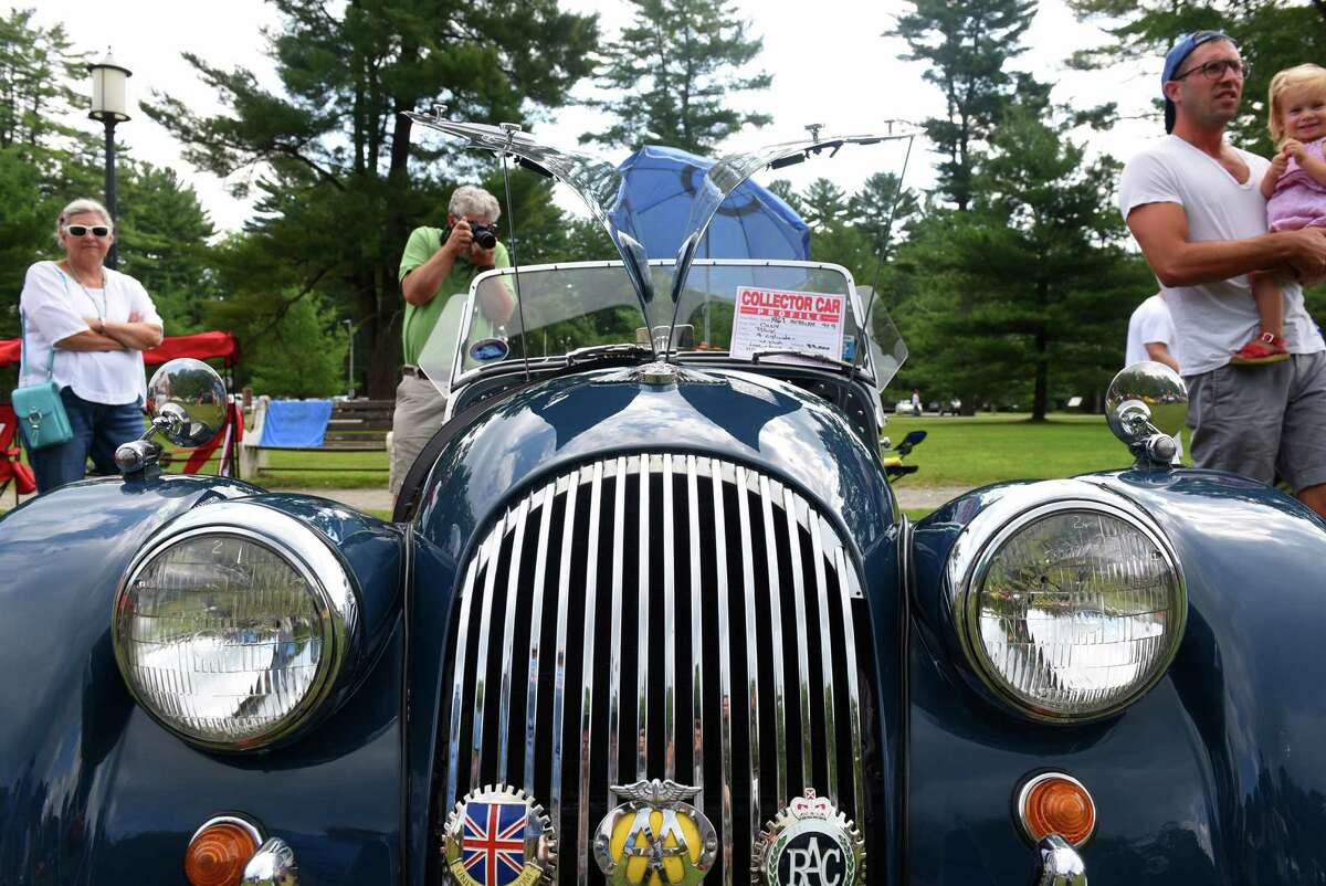 A 1967 Morgan 4+4 owned by Joel and Kira Spiro of Albany on display at the Hemmings Sports & Exotics Car Show at the Saratoga Auto Museum on Saturday Aug. 6, 2016 in Saratoga Springs, N.Y. (Michael P. Farrell/Times Union)