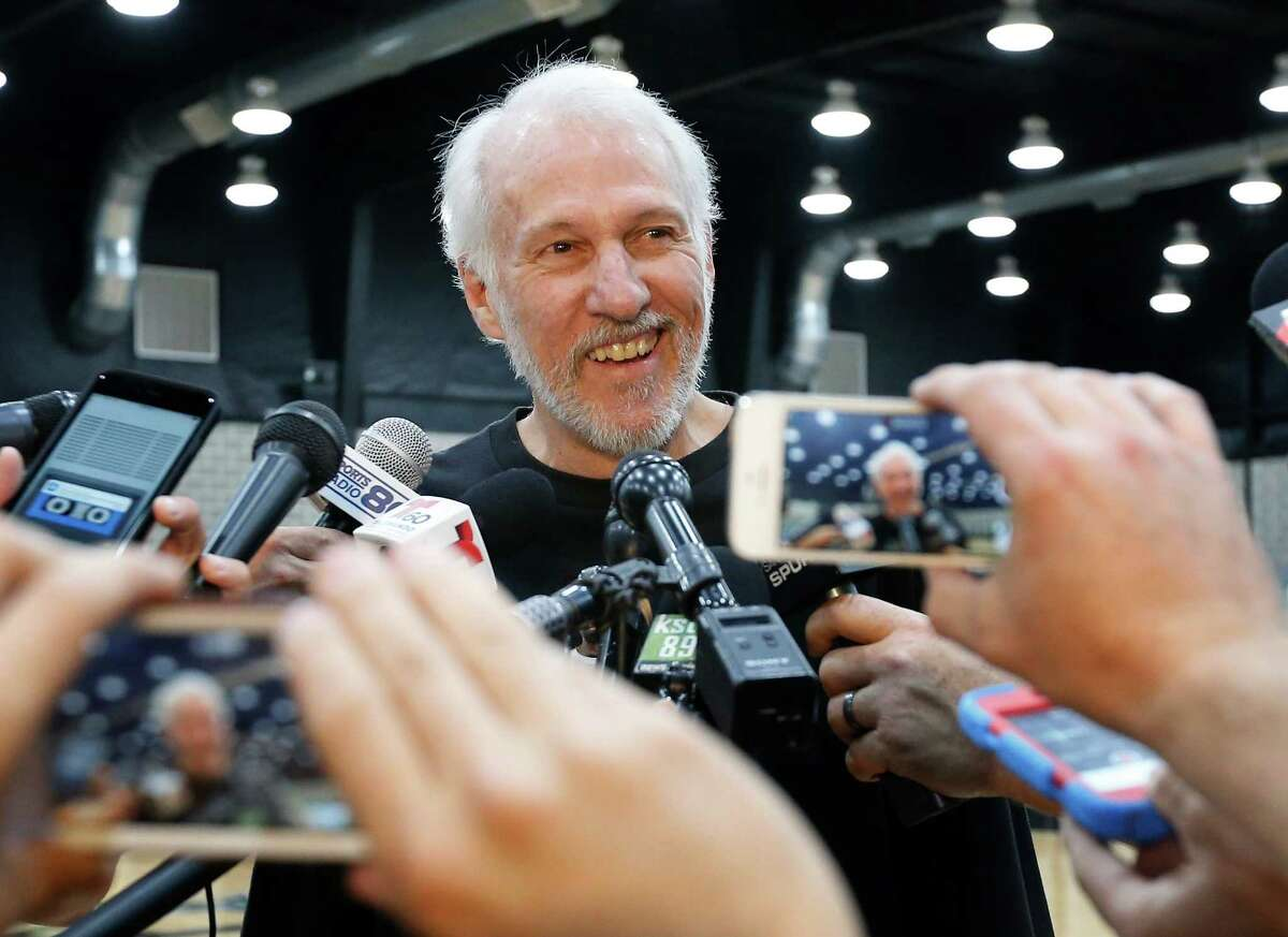 Spurs coach Gregg Popovich keeps his emotions in check as he addresses the media on July 12, 2016, in San Antonio, the day after Tim Duncan announced his retirement.