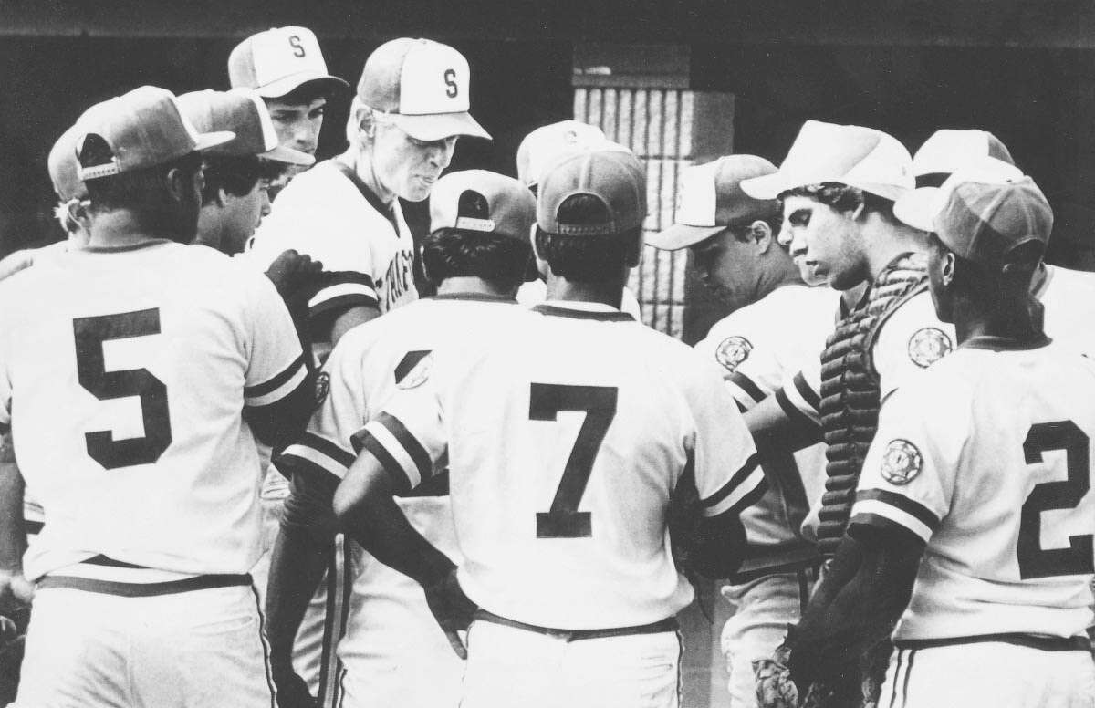 Manager Mike Walsh talks to his team during the Babe Ruth World Series. Unknown date. Advocate Staff photo.