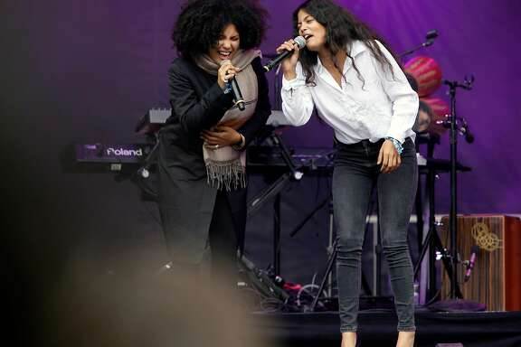 Twin sisters make up the duo Ibeyi with Lisa Kainde-Diaz, (left) and Naomi Diaz as they perform on the Sutro stage during day two of the Outside Lands Music Festival in Golden Gate Park in San Francisco, California, on Sat. Aug. 6, 2016.