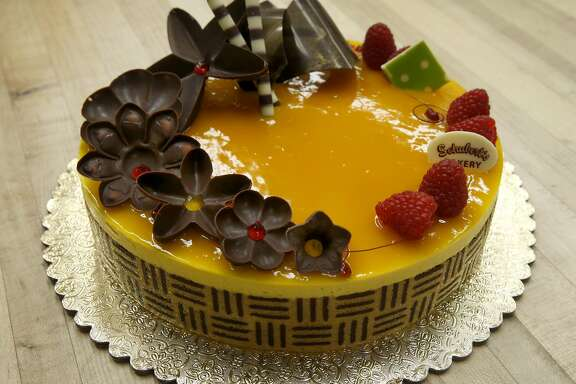 A Mango Mousse cake is displayed at Schubert's Bakery on Clement Street in San Francisco, Calif. on Saturday, Aug. 6, 2016.