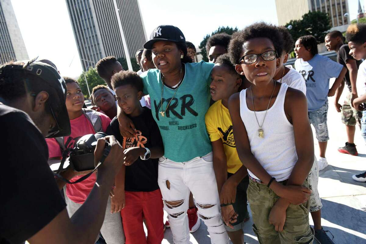 Youths play to a video camera during the Black Arts and Cultural Festival on Saturday, Aug. 6, 2016, at the Empire State Plaza in Albany, N.Y. (Cindy Schultz / Times Union)