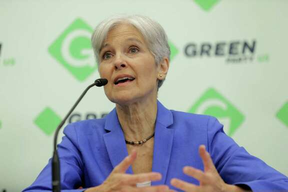 Green Party's presidential candidate Jill Stein talks to the media after accepting the official nomination during the party's national convention on Saturday, Aug. 6, 2016, in Houston.