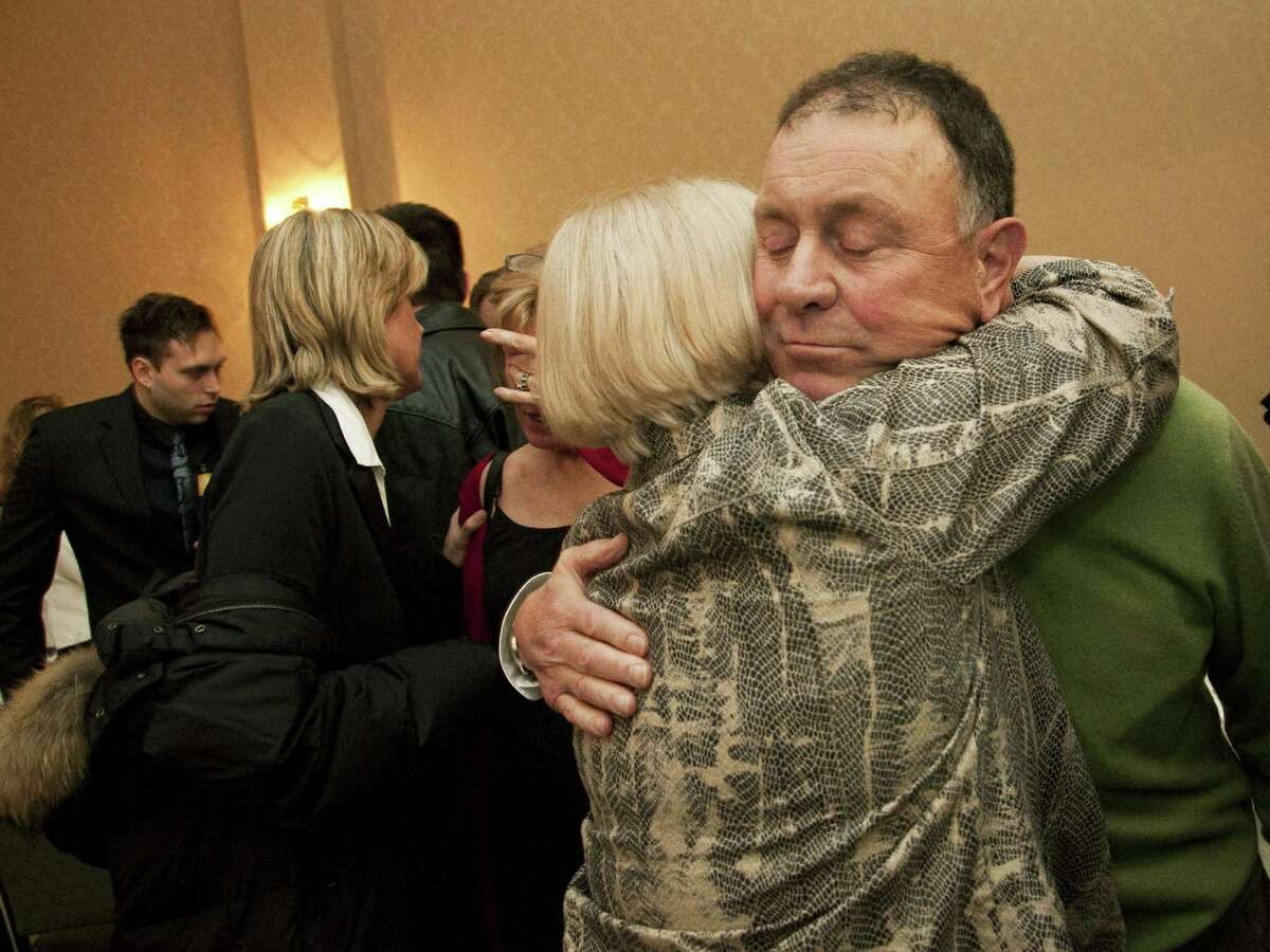 Richard Hanna is congratulated by a supporter after defeating two-term incumbent Michael Arcuri, D-Utica, for New York's 24th congressional district seat in Utica, N.Y., Wednesday, Nov. 3, 2010. (AP Photo/Heather Ainsworth)