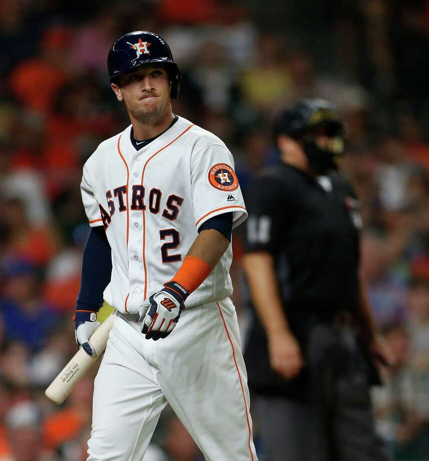 Astros rookie third baseman Alex Bregman, left, and rookie first baseman A.J. Reed have experienced troubles at the plate. Bregman began his major league career in a 2-for-38 hole. Reed has been plagued by strikeouts and is hitting .127. Photo: Karen Warren, Staff / © 2016 Houston Chronicle