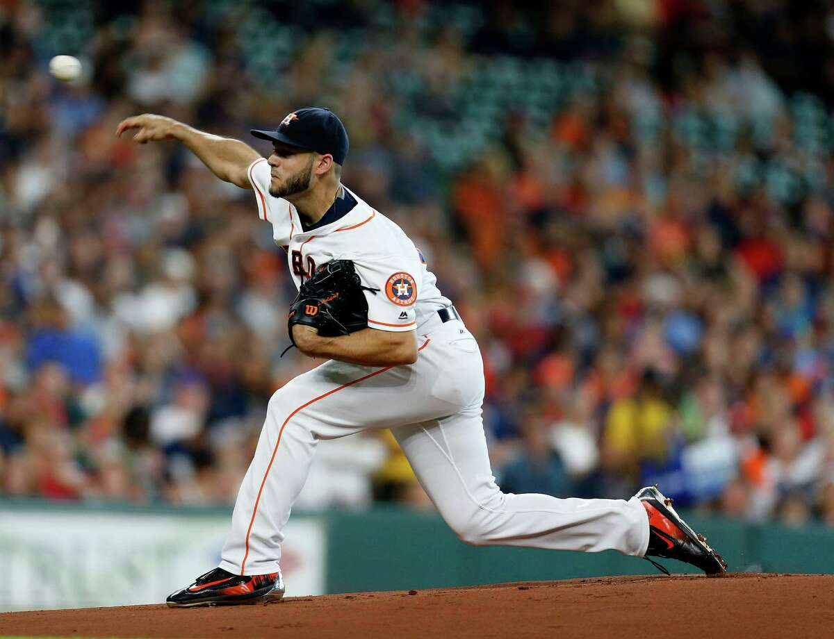 Houston Astros starting pitcher Lance McCullers (43) pitches in the first inning of an MLB baseball game at Minute Maid Park, Saturday, July 9, 2016, in Houston. ( Karen Warren / Houston Chronicle )