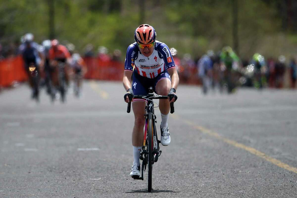 SOUTH LAKE TAHOE, CA - MAY 19: Megan Guarnier of the United States riding for the Boels-Dolmans Cycling Team celebrates as she crosses the finish line to win stage one of the Amgen Breakaway from Heart Disease Women's Race on May 19, 2016 in South Lake Tahoe, California. (Photo by Chris Graythen/Getty Images) ORG XMIT: 631317525
